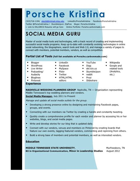 Social Media Resume Sles by Social Media Resumes 28 Images Social Media Marketing Resume 10 Creative Social Media