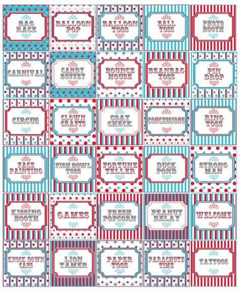 printable carnival tickets templates traditional teal red carnival party signs circus party