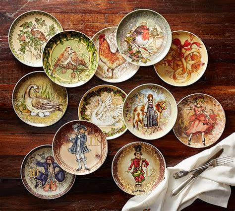 twelve days of christmas salad plates mixed set of 12