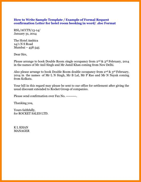 sle letter cancellation room booking letter format for hotel reservation copy exles