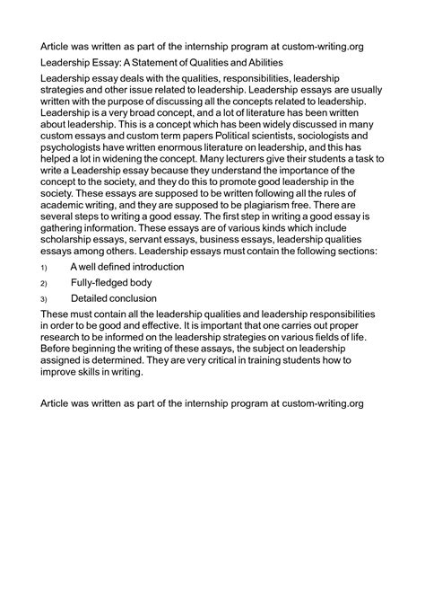 leadership essays sles why is it important to be a leader essay