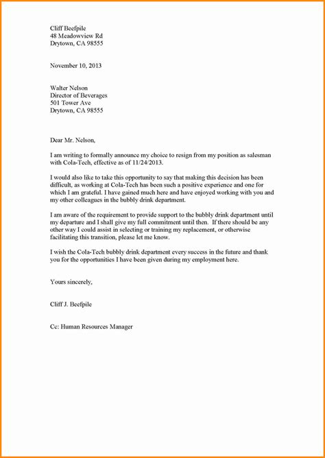 exles of resignation letters professional resignation letter sle doc creative 1210