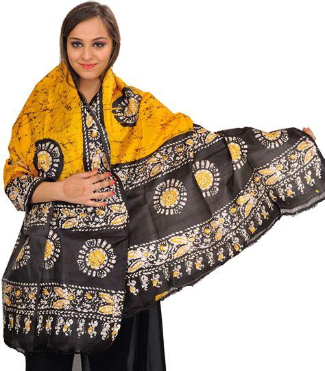 Pashmina Branded Motif Batik yellow and black batik dyed shawl with printed chakras