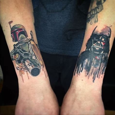 star wars boba fett darth vader tattoos by brittany
