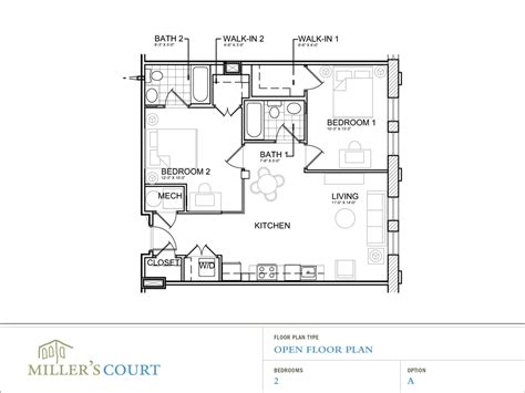 2 bedroom 2 bath open floor plans floor plans