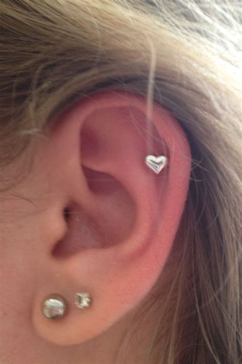 ear piercing ideas tumblr got this heart cartilage piercing today it s so pretty