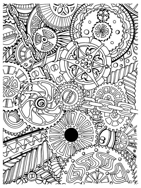 how to create mechanism in doodle zentangle page black and white images sepia and