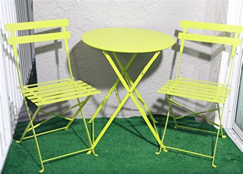 Lime Green Bistro Table And Chairs Carlota Furniture Outdoor Bistro Set Features 1 Folding Table And 2 Folding Chairs With Safe