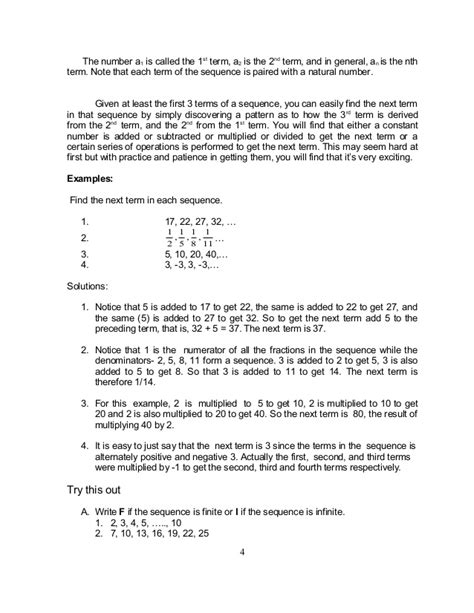 pattern grading terminology grade 10 math module 1 searching for patterns sequence