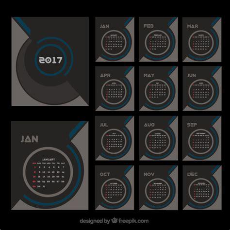 Calendario Moderno Elegante Calendario Moderno De 2017 Descargar Vectores