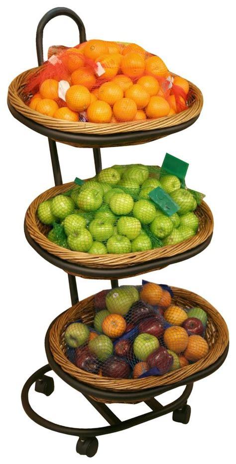 Fruits Display Rack by 3 Tier Basket Stand Rolling Wicker Black Fruit