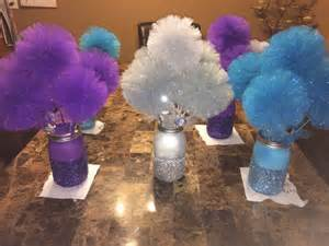 Frozen Centerpieces Disney Frozen Centerpiece Glitter Mason Jars With Tulle Pom Pom Wands How To Make Jars And