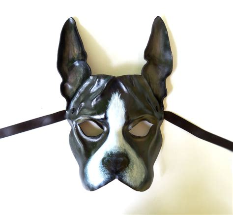 leather puppy mask boston terrier leather mask by teonova by teonova on deviantart