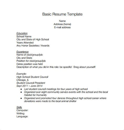Resume Template Basic High School High School Resume Template 9 Free Word Excel Pdf Format Free Premium Templates