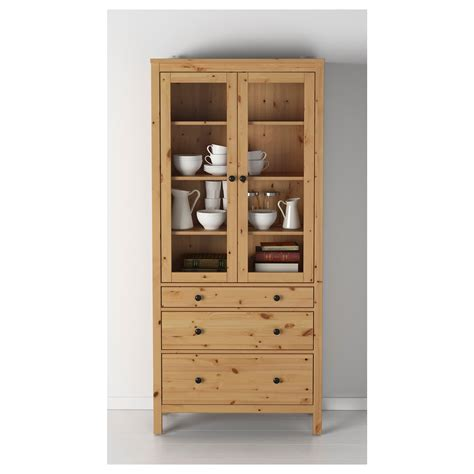 Hemnes Glass Door Cabinet Hemnes Glass Door Cabinet With 3 Drawers Light Brown 90x197 Cm Ikea