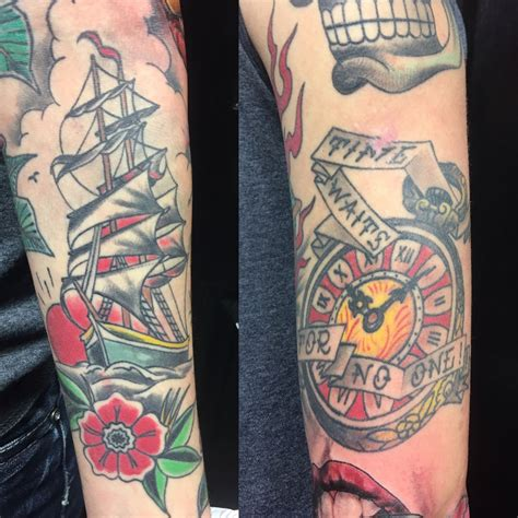 time waits for no one tattoo draketattoo time waits for no one pocket ship