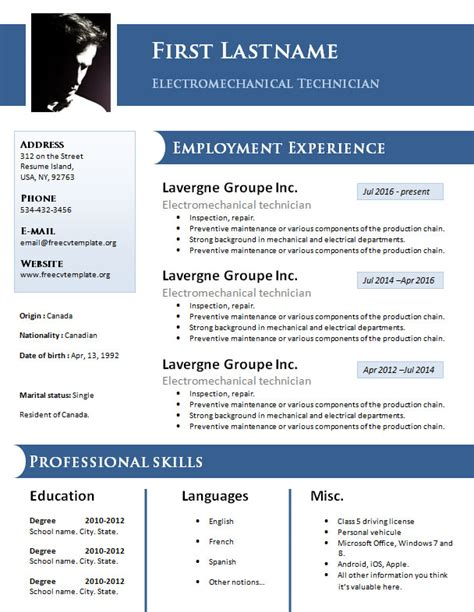 Resume Templates Free Doc by Free Design Resume Cv Template 925 To 931 Free Cv
