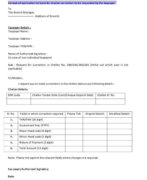 Credit Report Correction Letter Template How To Correct Challan 280