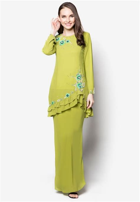 Baju Helena Midi Dress Es 2 era floral embroidered baju kurung moden with ruffles traditi0nal 0utl00k