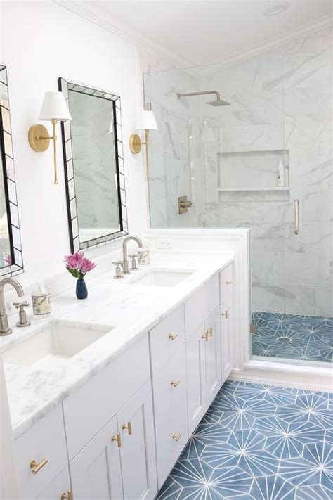 white cement for bathroom tiles white and gold bathroom with blue cement tile floor
