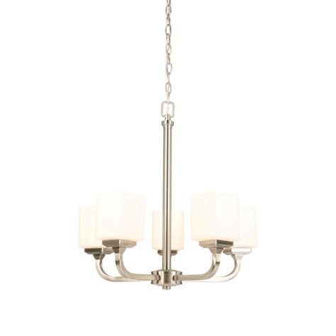 Hton Bay 5 Light Chandelier Hton Bay 5 Light Brushed Nickel Chandelier With Frosted Glass Shade Iuq8115a 2 The Home Depot