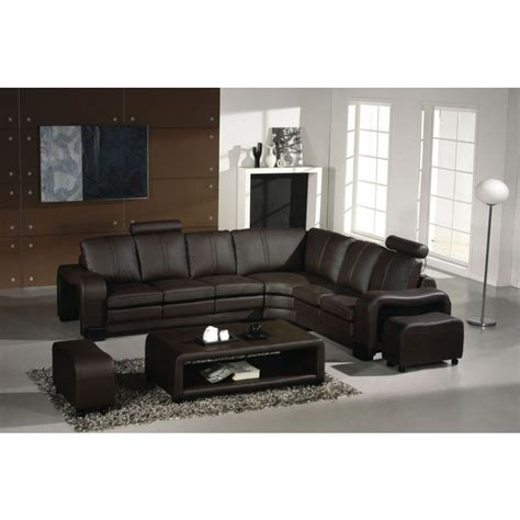 Espresso Sectional Sofa Ev 3330 Modern Espresso Leather Sectional Sofa