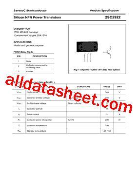 datasheet transistor sanken 2sc2922 2sc2922 datasheet pdf savantic inc