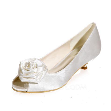 Wedding Shoes Kitten Heel With Peep Toe by S Satin Kitten Heel Peep Toe Sandals With Flower
