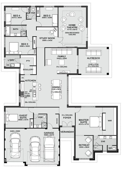 5 bedroom floor plans floor plan friday 5 bedroom entertainer