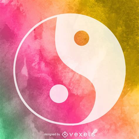 watercolor yin  symbol vector