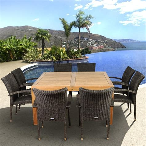 Amazonia Teak Versailles 8 Person Resin Wicker Patio 8 Person Patio Dining Set