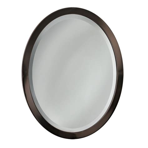 oval mirrors for bathrooms shop allen roth 29 in h x 23 in w oil rubbed bronze oval