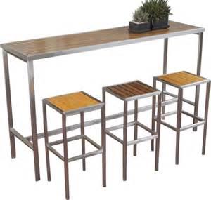 Hayman outdoor teak high bar table stainless steel frame