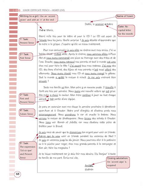 letter layout leaving cert french hl revise wise