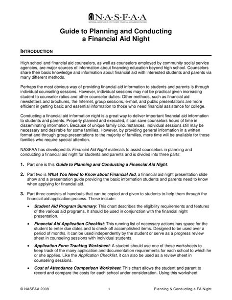 Financial Planner Introduction Letter Guide To Planning And Conducting A Financial Aid