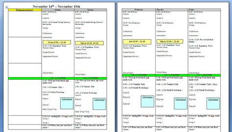 weekly lesson plan template word document business
