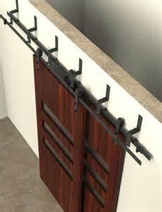 Double track bypass sliding barn door hardware kit w 8 ft track for 2