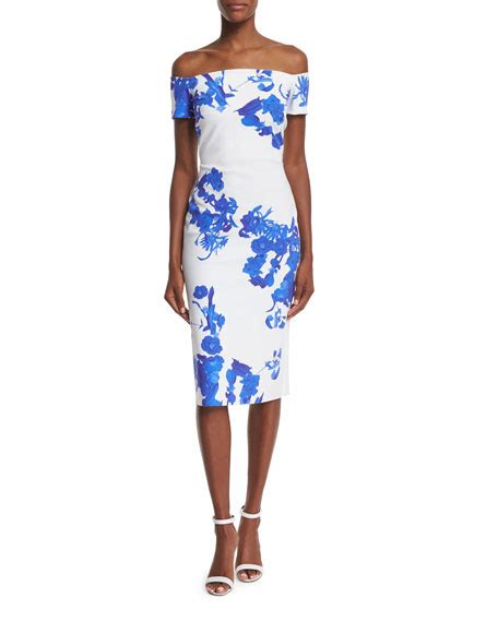 Shoulder Floral Sheath Dress la robe the shoulder floral print sheath dress