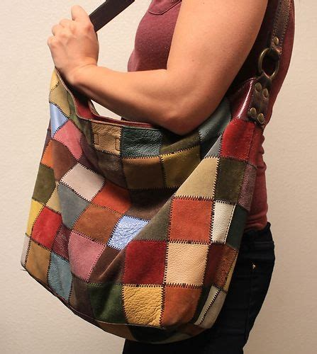 Lucky Brand Patchwork Handbag - vtg lucky brand 100 leather suede hobo hippie