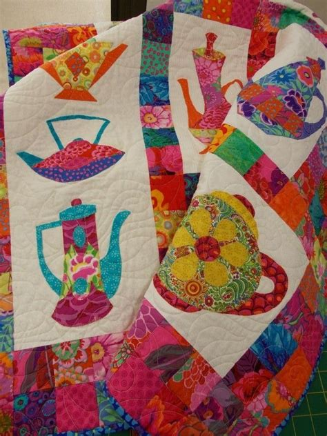 Patchwork Quilting Patterns - kaffe fassett teapots quilt seen at rainbow patchwork
