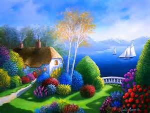 Colorfu Houses Painting colorful view art boat flower house painting path