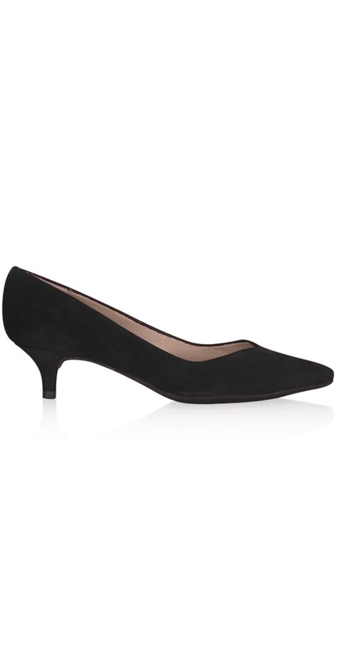 unisa shoes black suede kitten heel shoe in black