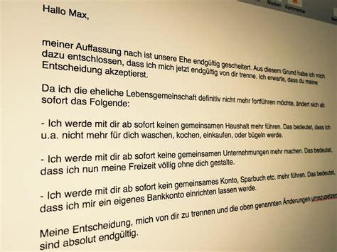 vorlage brief unterhaltsforderung trennungsbrief muster gratis muster spart ihnen kosten