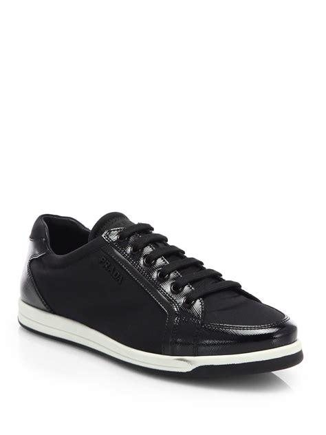 prada sneakers black patent leather prada saffiano patent leather sneakers in black nero