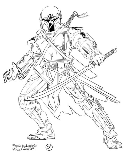 Gladus Tite Mandalorian Inks By Corranfett On Deviantart Mandalorian Coloring Pages