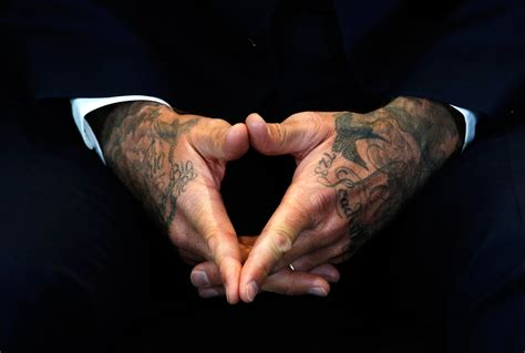 david beckham tattoo on his hand athletes embody edgy power of tattoos the portland press