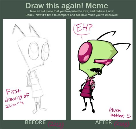 Draw This Again Meme - draw this again meme zim by secretagentg on deviantart