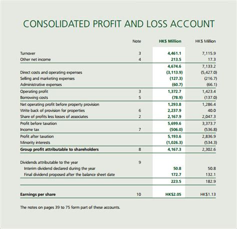 profit loss account template profit and loss template 20 free documents in