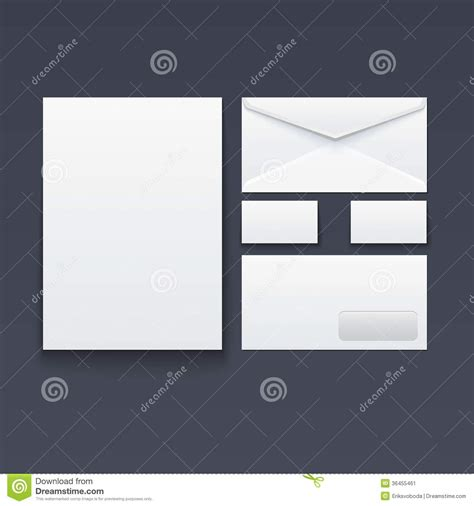 blank envelope business card and paper stock vector