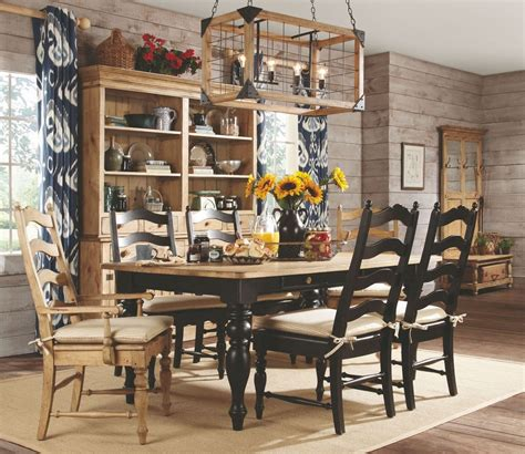 pine dining room sets homecoming vintage pine black farmhouse leg dining room